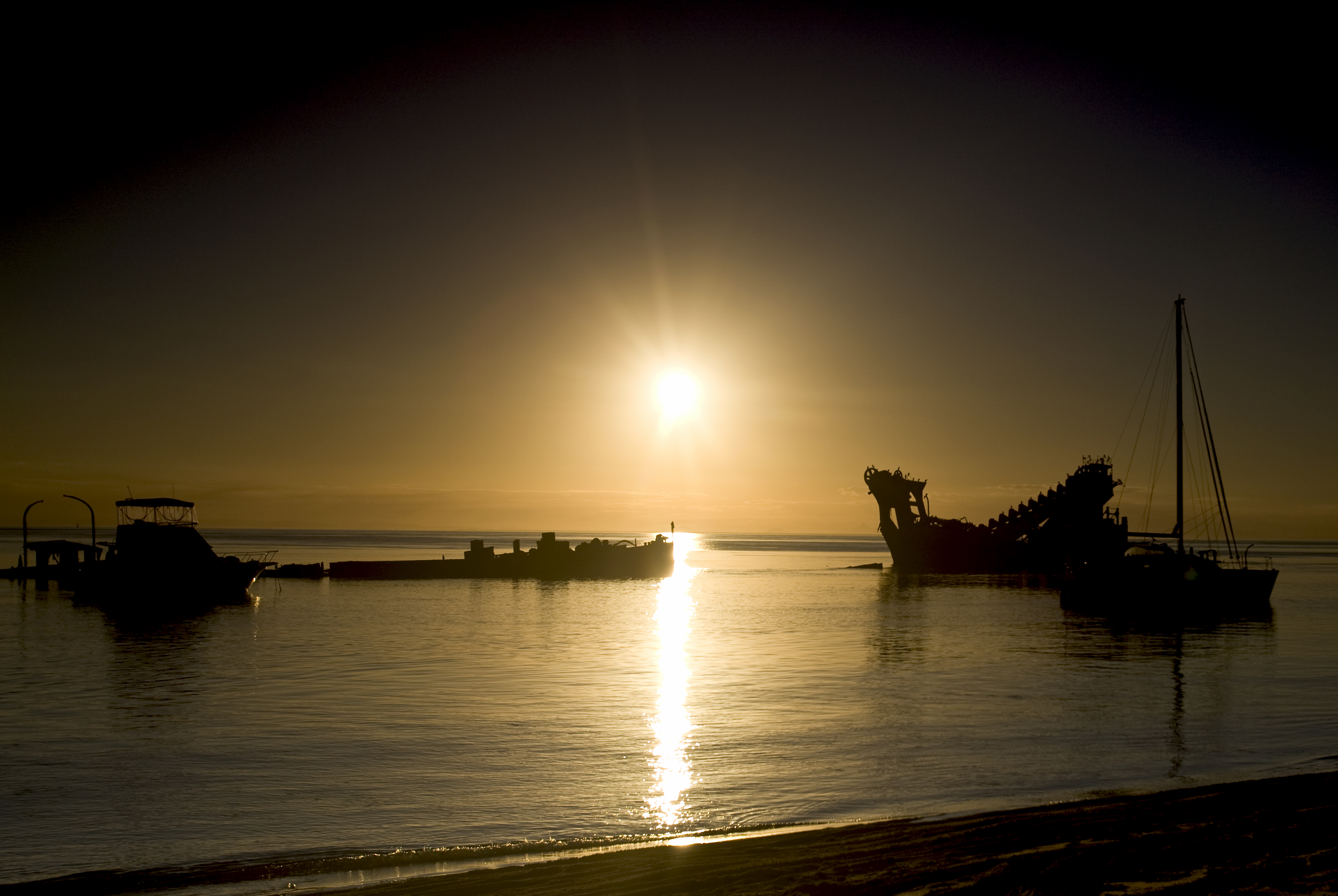 Tangalooma Wrecks at Sunset | Moreton Island